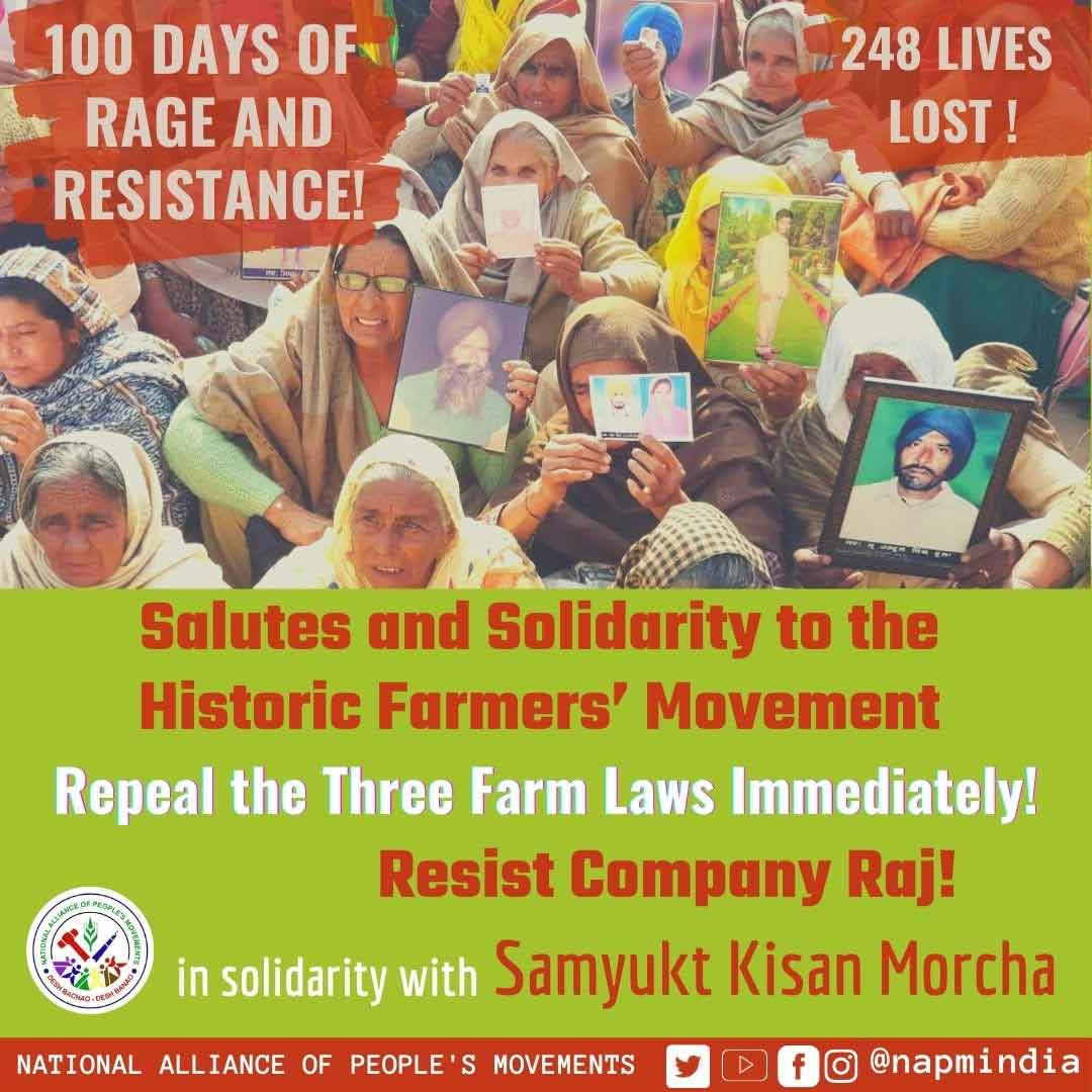 100 days of rage and resistance NAPM salutes farmers' movement